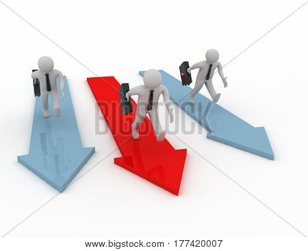 3D Rendering - Running Businessmen Concept On White Background
