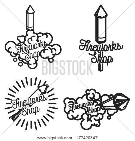 Color vintage fireworks shop emblems, labels, badges and design elements. Vector illustration, EPS 10