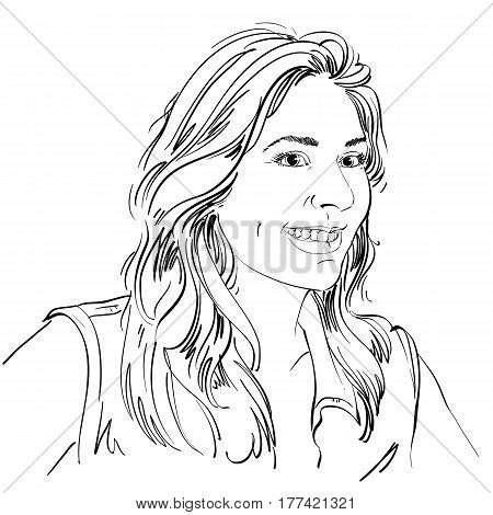 Vector drawing of smiling woman with stylish haircut. Black and white portrait of attractive happy lady.