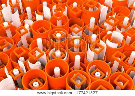 Pattern Of Colored Tubes, Repeated Square Elements, White Hexagons And Surfaces