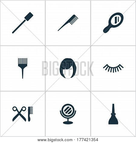 Vector Illustration Set Of Simple Salon Icons. Elements Nail Polish, Eyelash Brush, Hairstyle And Other Synonyms Nails, Brush And Makeup.