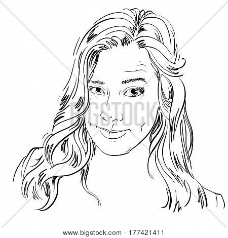 Hand-drawn portrait of white-skin skeptic woman face emotions theme illustration. Beautiful distrustful lady model posing on white background. I do not believe you theme.