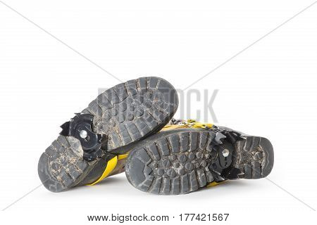 Used hiking boots with Groedel (small crampons)