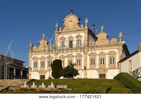 View of the Rathaus in Mirandela Portugal