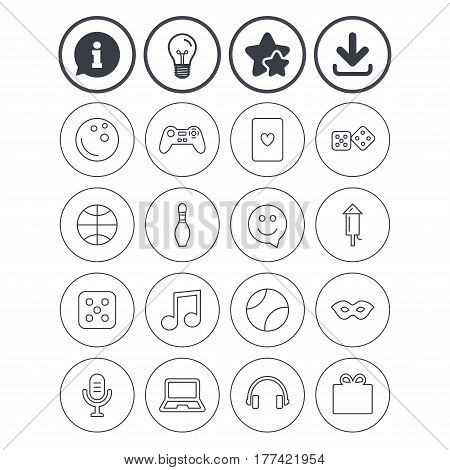 Information, light bulb and download signs. Entertainment icons. Game console joystick, notebook and microphone symbols. Poker playing card, dice and mask thin outline signs. Vector
