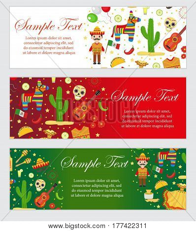 Cinco de Mayo celebration in Mexico, banner set. Horizontal board, template for your design. Vector illustration, clip art