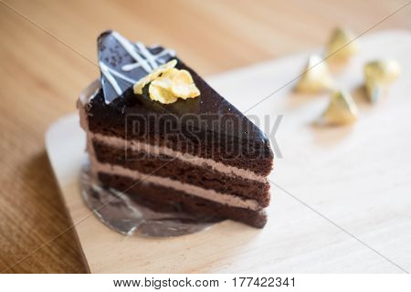 Chocolate cake in coffee shop selective focus