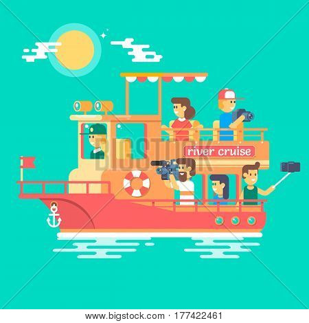Cruise ship sailing on the river, have a rest and take photos Recreational waterway travel vacation journey  leisure cruise river trip background Vector illustration.