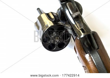 38 Caliber Revolver Pistol Loaded Cylinder Gun Barrel Close Up