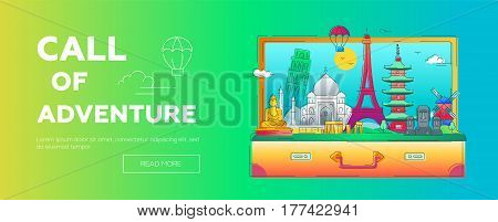 Call of Adventure - modern vector line design illustration of web page header. India, Japan, France, Italy, Netherlands. World famous landmarks in a suitcase - eiffel tower, tower of pisa, buddha monument, torii, windmill, taj mahal