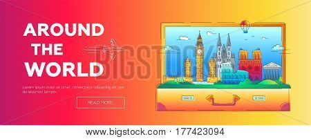 European countries - modern vector line travel illustration. Have a trip, enjoy your vacation. Discover Italy, Germany and Great Britain. Famous landmarks in a suitcase - tower of london, coliseum, cathedral, balloon, bridge