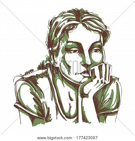 Hand-drawn vector illustration of beautiful romantic and pensive woman thinking about something sad. Monochrome image expressions on face of young lady.