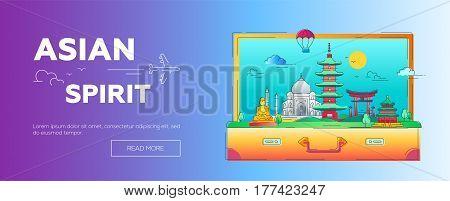 Asian Spirit - modern vector line travel web page header illustration. Discover India, Japan, France, Israel. World famous landmarks in a suitcase - Buddha , torii, mosque, taj mahal