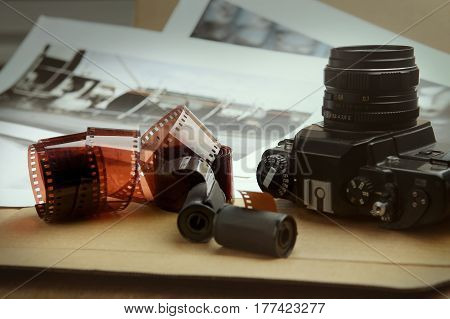 Photographic film rolls, cassettes and camera. Analog photography.