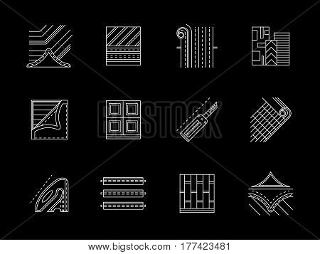 Linoleum floor elements and installing service. Materials for flooring decorative and repair works. Set of flat white line design vector icons on black.