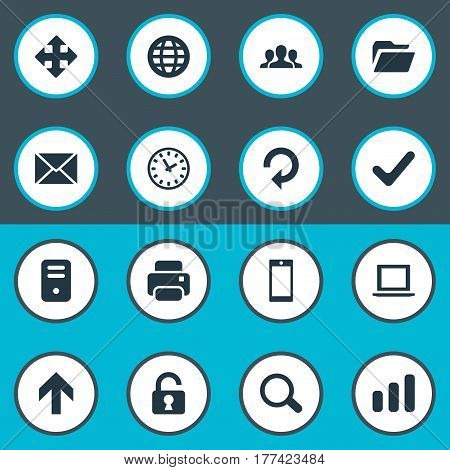 Vector Illustration Set Of Simple Practice Icons. Elements Notebook, Magnifier, Printout And Other Synonyms Up, Zoom And Padlock.