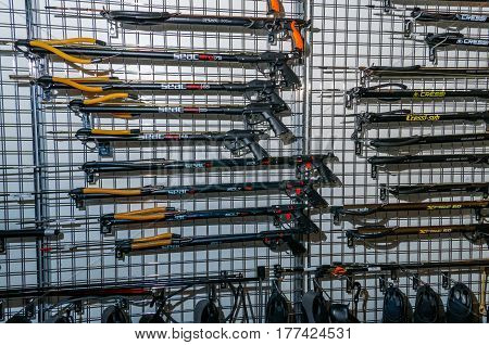 Moscow, Russia - February 25, 2017: Stand with spearguns for underwater hunting and fishing on the special exhibition in VDNKh