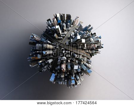 megalopolis aerial view 3d render image close up