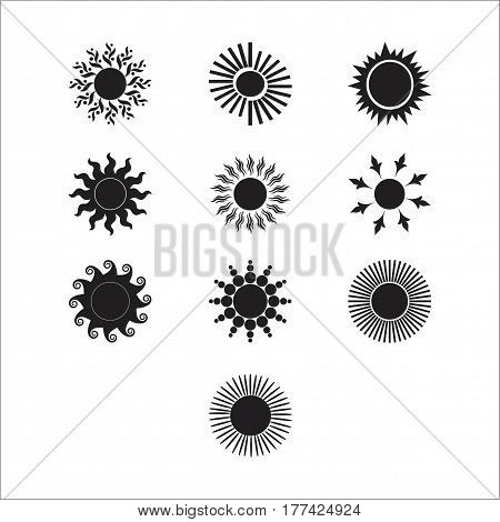 Sun vector burst icon set sol sunshine black color on white background. Isolated flat element sunlight. Illustration weather symbol design for web and app.