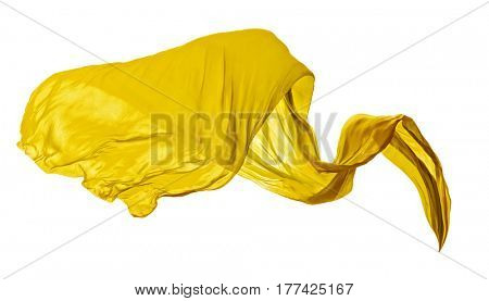 Smooth elegant yellow transparent cloth separated on white background. Texture of flying fabric.