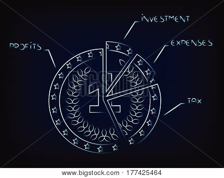 vector coin split into slices with budget elements: profit investments expenses tax (mesh background)