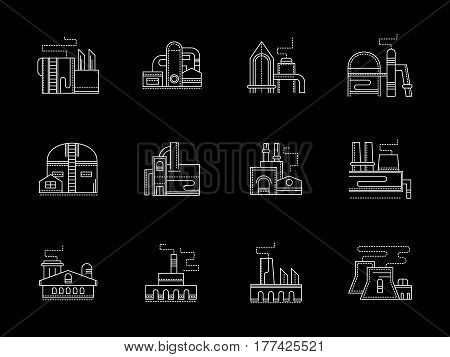 Industrial areas and facilities, plant and factory buildings. Industry concept. Set of white flat line design vector icons on black.