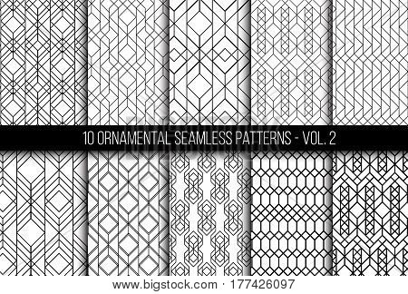 10 universal different geometric seamless patterns. Endless vector texture can be used for wrapping wallpaper, clothes, wallpapers, web page backgrounds, surface textures. Monochrome ornaments set