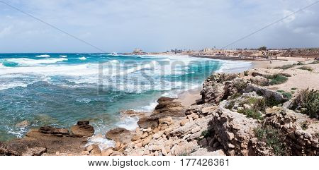 Small storm on the Mediterranean Sea on the port of Caesarea in the old town in Israel