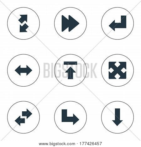 Vector Illustration Set Of Simple Indicator Icons. Elements Raise-Fall, Transfer, Downwards Pointing And Other Synonyms Arrow, Advanced And Forward.