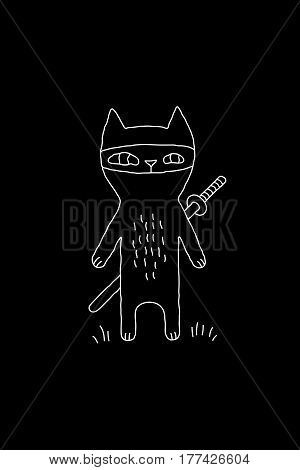 Outline cartoon animal illustration with ninja cat and a sword. Cute vector black and white animal illustration. Monochrome doodle animal illustration for prints, posters, t-shirts, covers and cards.