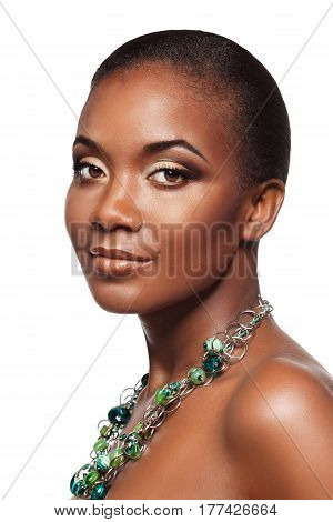 Beauty Portrait Of Elegant Young Black Woman In Necklace With Beautiful Makeup, Isolated On White Ba