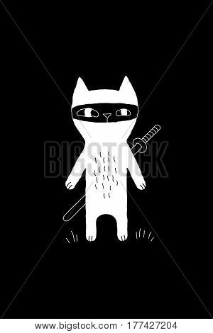 Cartoon animal illustration with ninja cat and a sword. Cute vector black and white animal illustration. Monochrome doodle animal illustration for prints, posters, t-shirts, covers and cards.