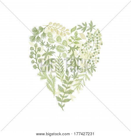 Floral hand drawn bouquet in form of heart. Vector green leaf arrangement isolated on white background. Love card cover design