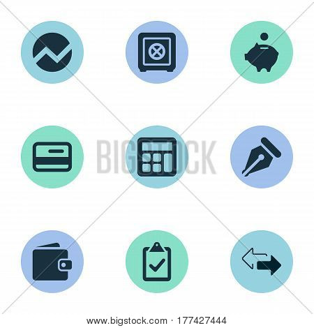 Vector Illustration Set Of Simple Banking Icons. Elements Billfold, Calculator, Piggy Bank And Other Synonyms Sign, Money And Wallet.