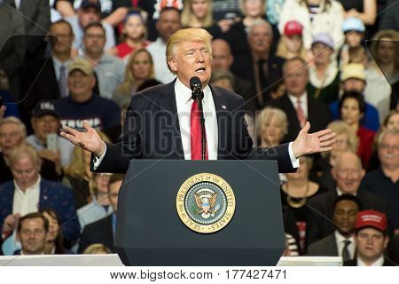 Louisville Kentucky - March 20 2017: President Donald J. Trump addresses a crowd at a rally inside Freedom Hall in Louisville Kentucky on March 20 2017.