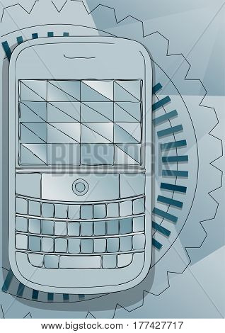 Push button telephone. abstract communication vector background