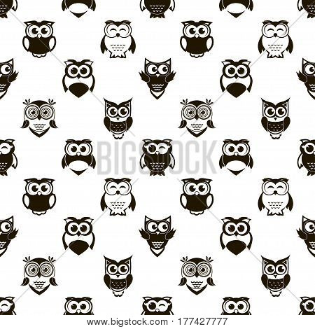 seamless pattern with cartoon black owls and owlets