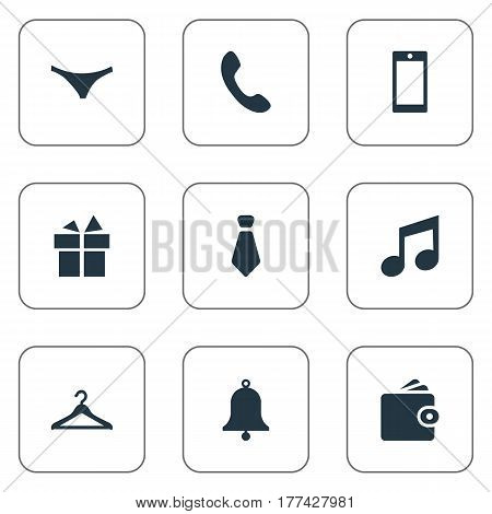 Vector Illustration Set Of Simple Accessories Icons. Elements Cravat, Hanger, Underwear And Other Synonyms Hanger, Telephone And Musical.