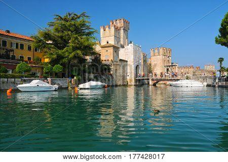 Castle On Lake Garda In Sirmione, Italy