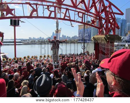 University of Southern California Marching Band and conductor performing at a Pier, Chicago the day prior to Notre Dame's homecoming game, October 21, 2011