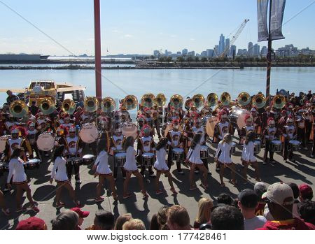 Southern Cal Marching Band and Song Leaders performing at a Pier, Chicago the day prior to Notre Dame's homecoming game, October 21, 2011