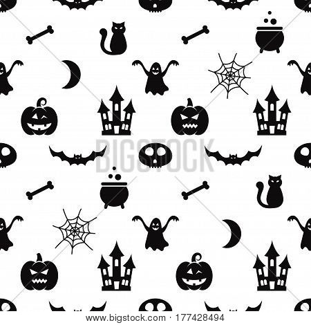 Seamless pattern with the black Halloween icons