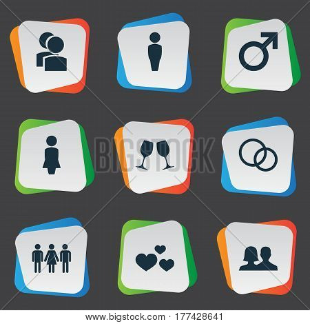 Vector Illustration Set Of Simple Beloved Icons. Elements Mister, Madame, Rings And Other Synonyms Madame, Rings And People.