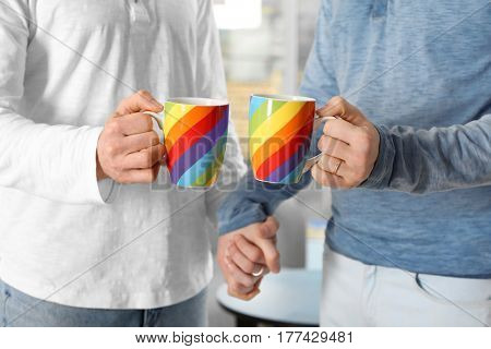 Happy gay couple holding colorful cups
