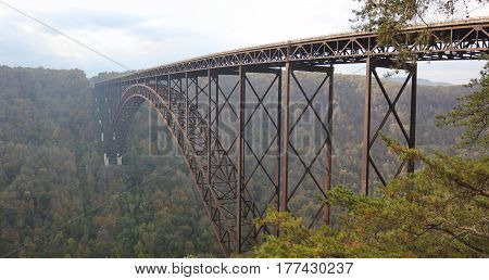The New River Gorge Bridge a steel arch bridge in West Virginia.  Part of the New River Gorge National River