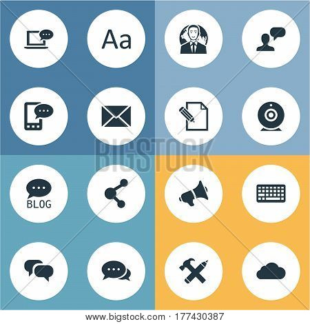 Vector Illustration Set Of Simple Blogging Icons. Elements Broadcast, Site, Document And Other Synonyms International, Overcast And Conversation.