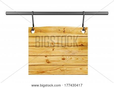 Empty wooden signboard hanging on metal bar isolated on white background, 3D rendering