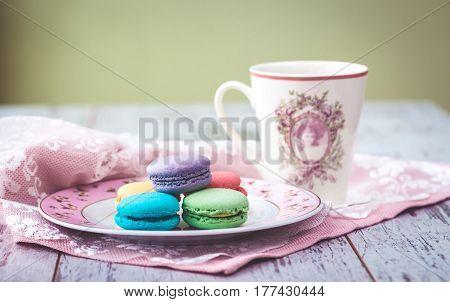Multicolored Macaroon Cookies On Plate