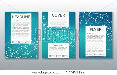 Set of business templates for brochure, flyer, cover magazine in A4 size. Structure molecule of DNA and neurons. Geometric abstract background. Medicine, science, technology. Vector illustration