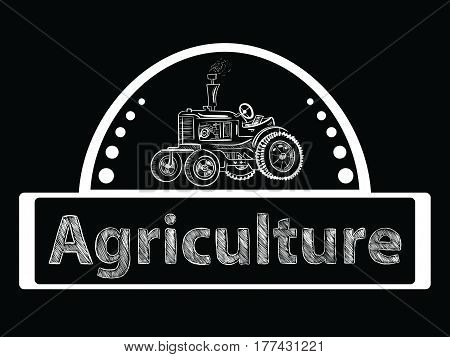 Farmer tractor agricultural equipment and transport lineart